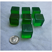Translucent Green Large Lucite Cubes Set of 7