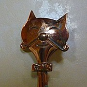 Smiling Cool Cat Kitty Cat Copper Pin Brooch