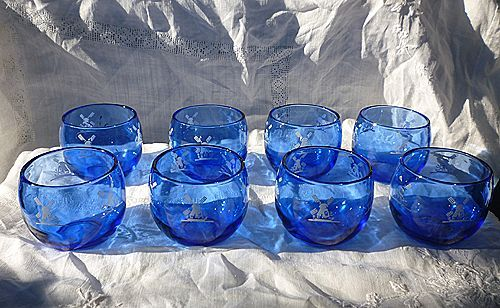 Cobalt Blue and White Windmill Roly Poly Glasses Hazel Atlas