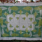 Art Ferns Green Yellow White  Print Linen Tablecloth Mid-Century