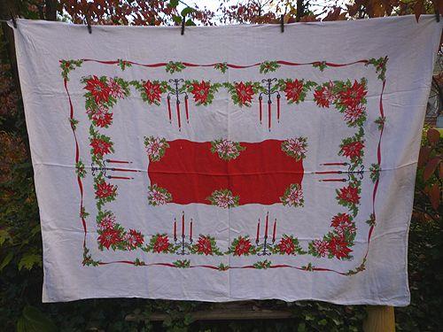 Candlesticks Holly Poinsettias Ribbon 50's Print Xmas Linen Tablecloth