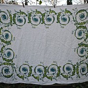 Lovely Irish Linen William Ewart Scroll Print Vintage Tablecloth