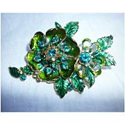 Green Rhinestones and Enamel Large Flower and Leaves Vintage Brooch Signed Monet