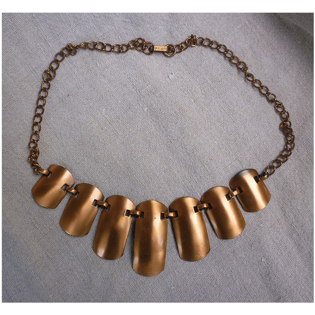 Modernist Design Solid Copper Linked Shields and Chain Necklace