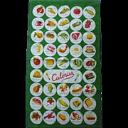 Colorful Calories Counter Print Vintage Kitchen Towel Mint