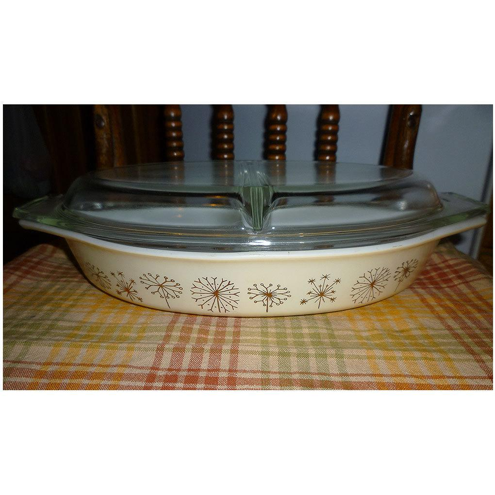 Pyrex Dandelion Duet 1 1/2 Qt Divided Casserole Dish with Divided Lid