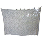 Ferns Fronds Diamond Quilt Block Ecru Ivory Crochet Tablecloth