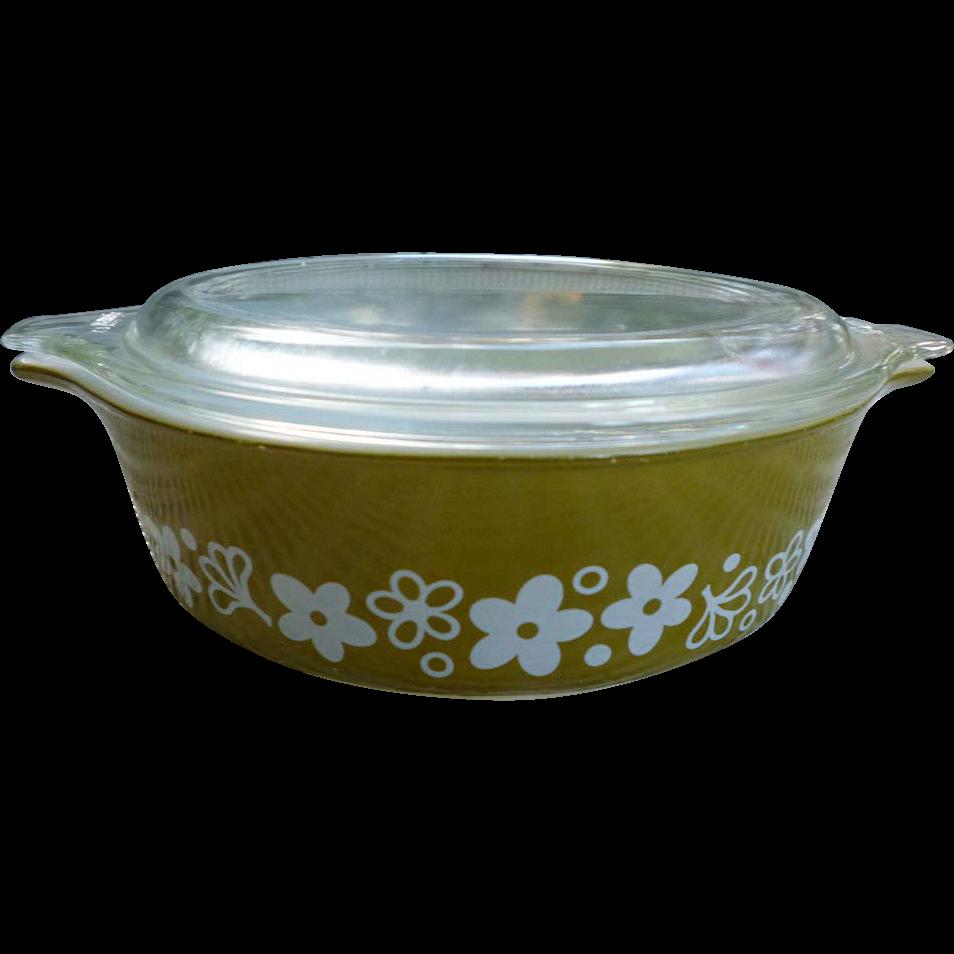crazy daisy pyrex cinderella casserole dish with lid 471b