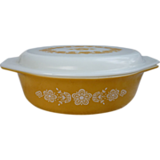 Pyrex Butterfly Gold Oval 2 ½ Qt 045 Casserole With Lid