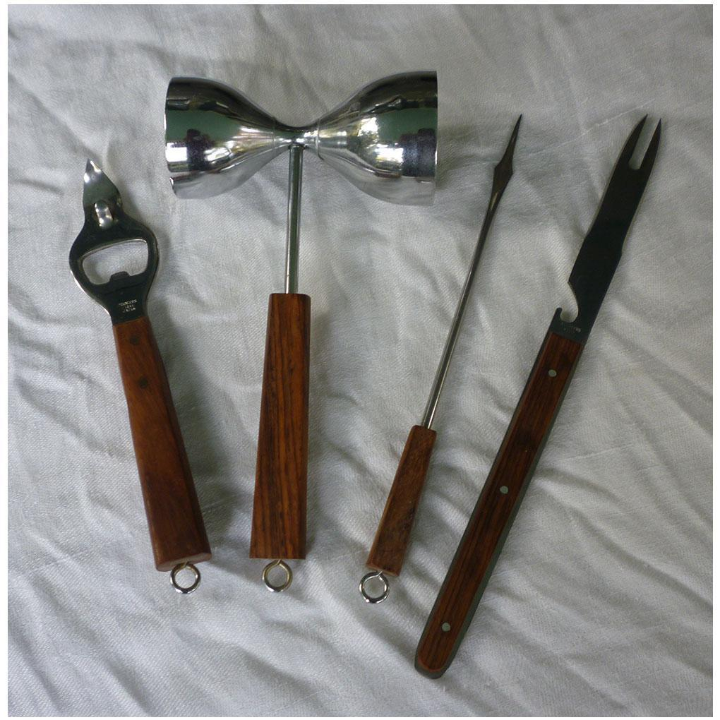 Stylish Stainless with Teak Handles Home Bar Tools Utensil Set