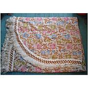 Shabby Cottage Chic Vintage Bates Floral Tapestry Bedspread