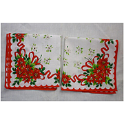 Pair Pretty Poinsettias Christmas Handkerchiefs