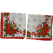 Pair Pretty Poinsettias Christmas Handkerchiefs