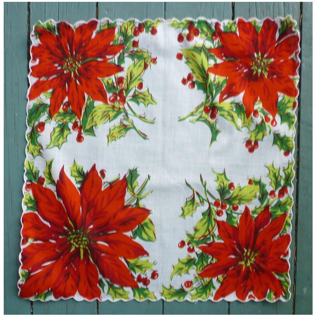 Four Poinsettias Christmas Handkerchief