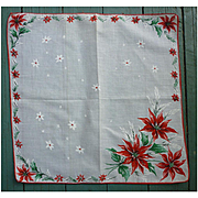 Poinsettias and Snowflakes Christmas Handkerchief