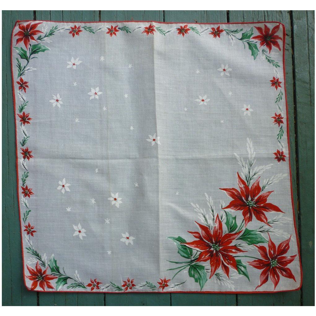 Poinsettias and Snowflakes Christmas Handkerchief