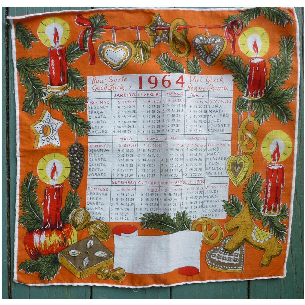 1964 Calendar Christmas New Year Hankie