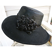 Vintage Whittall & Shon Designer Black Felt Hat With Black Roses and Sequins