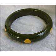 Green and Yellow Polka Dot Bakelite Bangle Bracelet 6 Dot