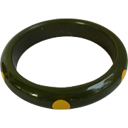 Green and Yellow Polka Dot Bakelite Bangle Bracelet 6 Dot
