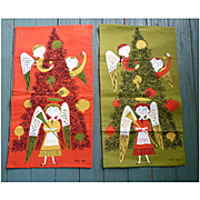 Vintage Christmas Angels with Tree Tammis Keefe Tea Towels Reversible Set