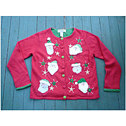 Tiara International Vintage Women's Ugly Christmas Sweater Cute Santas L