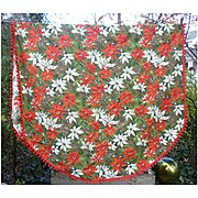 Red White Poinsettias Pine Cones Red Pom Pom Fringe Oval Vintage 60's Christmas Tablecloth