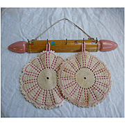 Wooden Rolling Pin Rack and Pink Potholders Set