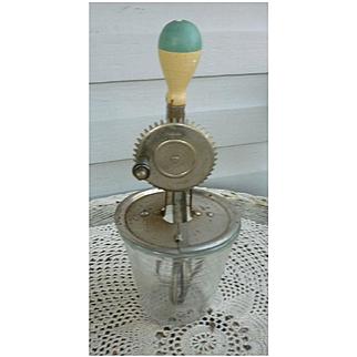1923 A&J Egg Beater/Mixer and 2 Cup/16 oz. Hazel Atlas Glass Measuring Mixing Bowl