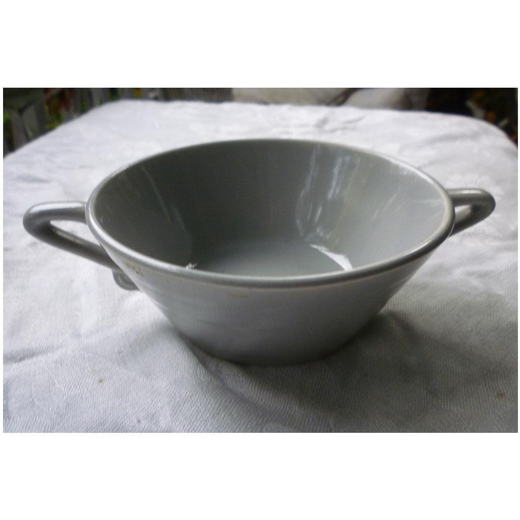 Vintage Harlequin Pottery Cream Soup Bowl  in Original 50's Gray Glaze