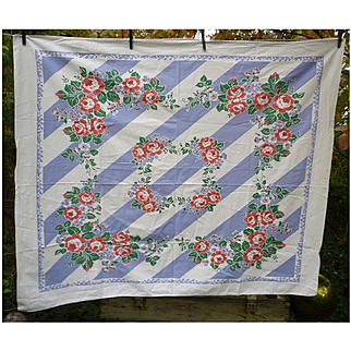 Garlands of Roses on Blue and White Stripes Print Vintage Fiatelle Tablecloth