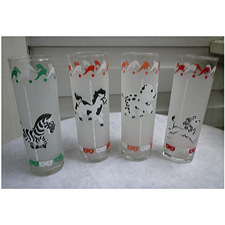 Carousel Merry-Go-Round Animals Tall Glasses Set of Four