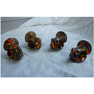 Colorful Ceramic Turkey Napkin Rings Set of 4