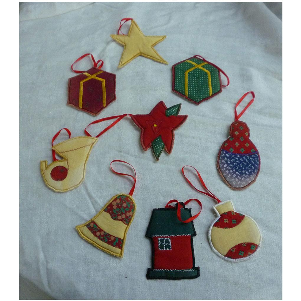 Homemade Cloth Christmas Ornaments Set Vintage 60's 70's