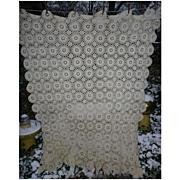 Cottage Lacy Ecru Ivory Medallions Crochet Tablecloth