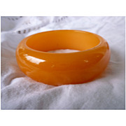 Plump Orange Glow Chunky Bakelite Bangle Bracelet