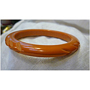Carved Chevrons and Wave Deep Butterscotch Bakelite Bangle Bracelet