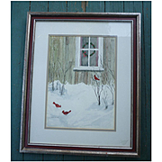 Cardinal Christmas Red Birds in Snow Watercolor Signed Framed