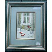 Cardinal First Snow Red Birds in Winter Watercolor Signed Framed