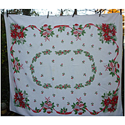 Big Red Bows Poinsettias Ornaments Holly Pinecones Garlands Vintage 50's Print Christmas Tablecloth