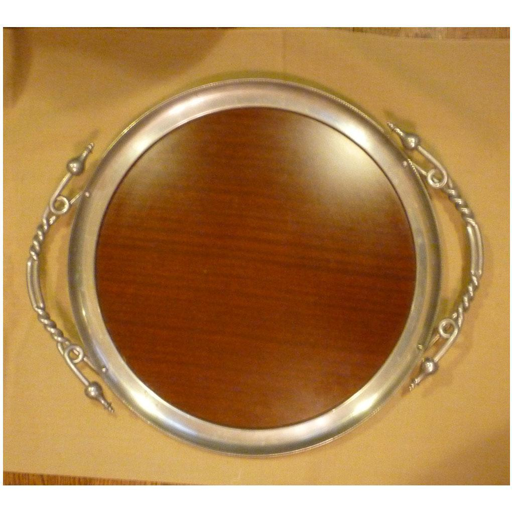 Large Round Serving Tray with Elegant Handles