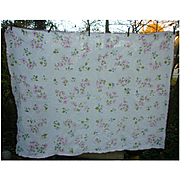 Pretty Pastel Floral Print Linen Tablecloth