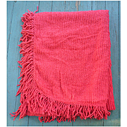 Cherry Red Tiny Rows Vintage Chenille Bedspread