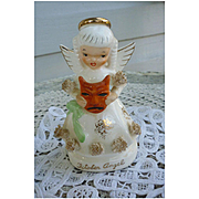 Vintage Napco Japan Ceramic October Angel Figurine with Spaghetti Trim and Halloween Mask