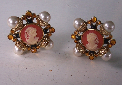 Craft Renaissance Maltese Cross Cameo Faux Pearls Rhinestones Enamel Earrings