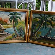 Pair Tropical Fishing Village 3-D Oil Paintings Bamboo Frames