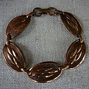 50's Modern Copper Links Bracelet Great Patina