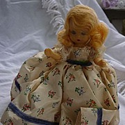 "Nancy Ann Storybook Doll Blond Floral Print Blue Ribbon Trim Dress 5 1/2"" HP"