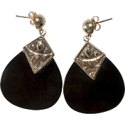14K Gold Black Glass Dangle Pierced Earrings Vintage