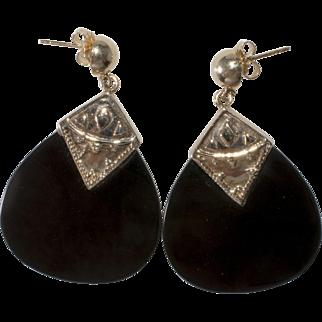 14K Gold Black Glass Dangle Pierced Earrings Vintage